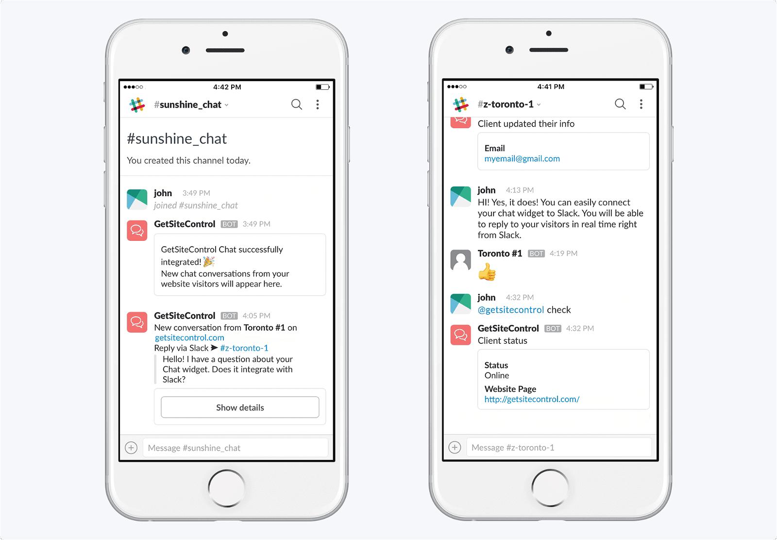Manage live chat conversations via Slack | GetSiteControl