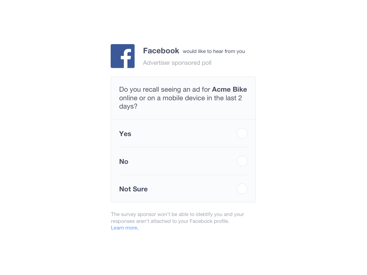 Example of a brand lift survey conducted on Facebook
