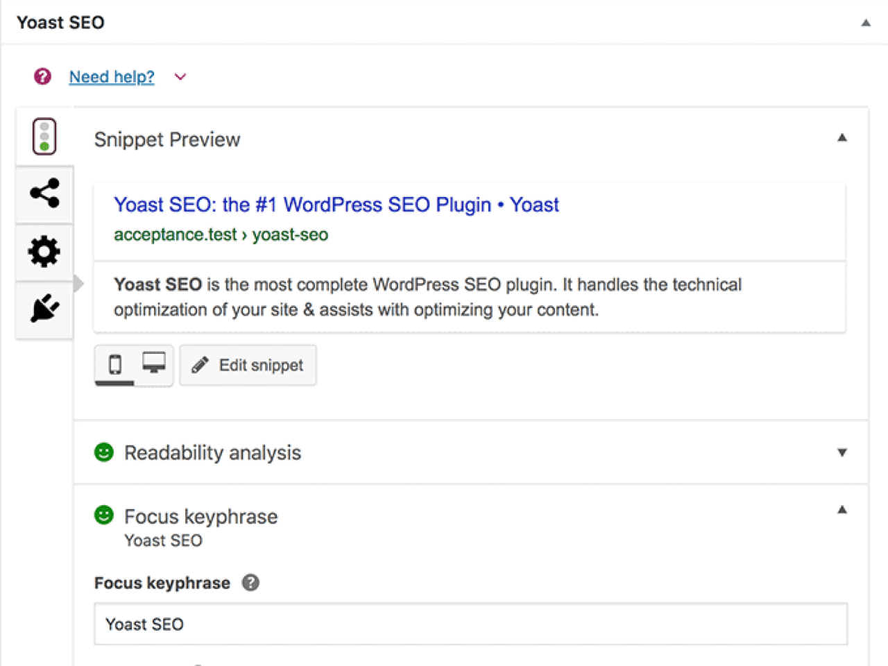 Yoast SEO plugin dashboard