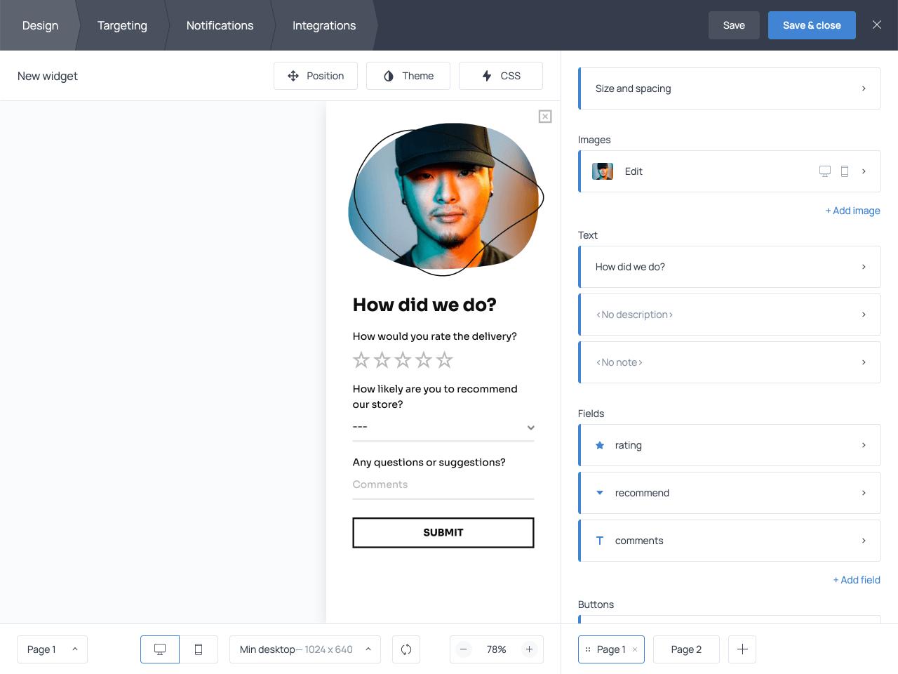 Online survey with a dropdown menu