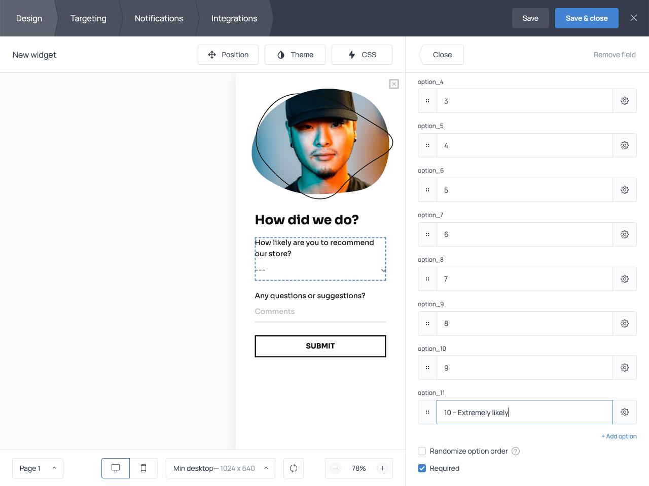 Getsitecontrol survey form dropdown menu options