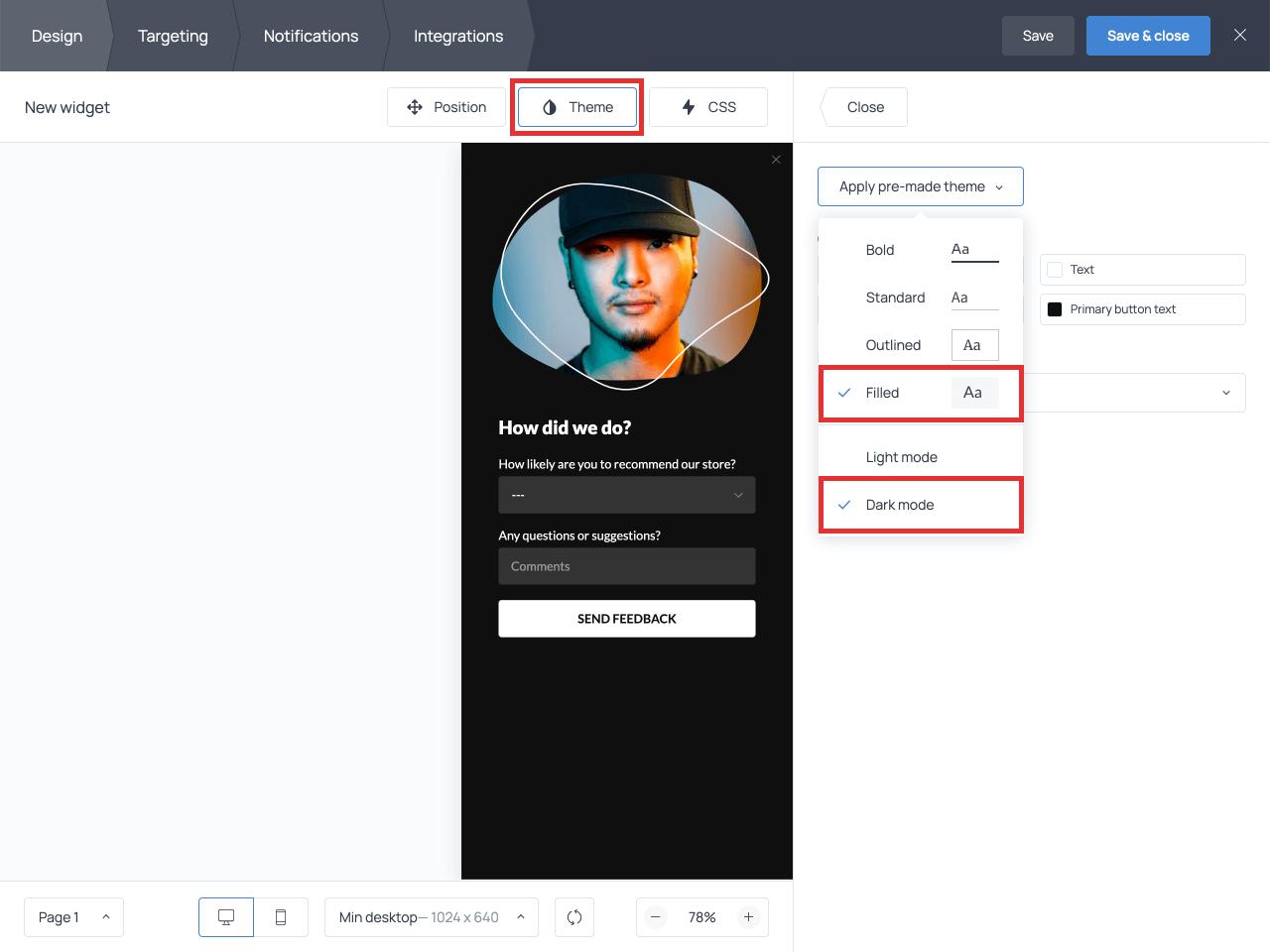 Getsitecontrol survey targeting settings