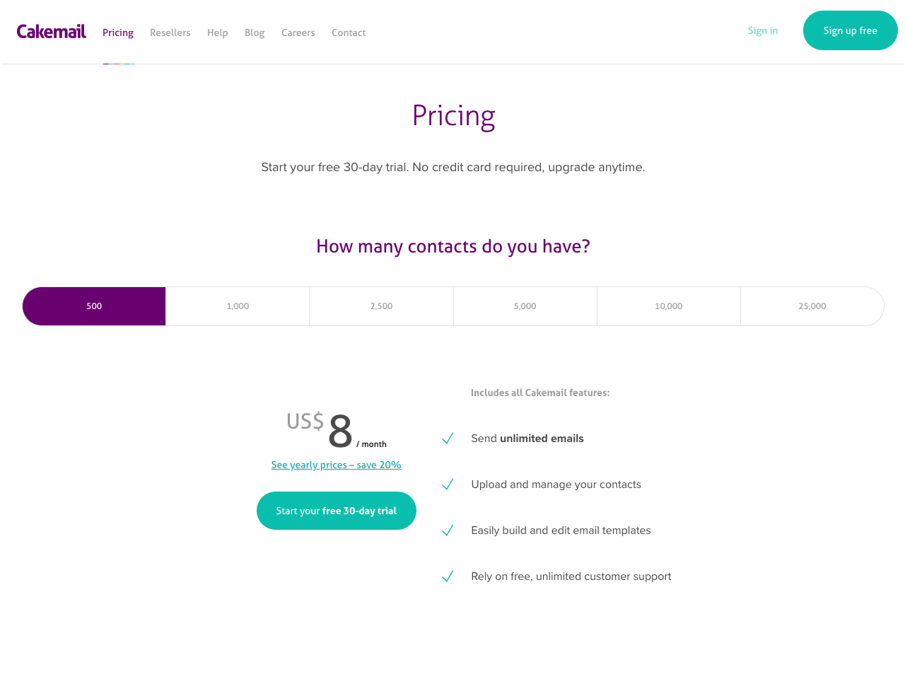Cakemail email marketing app pricing page