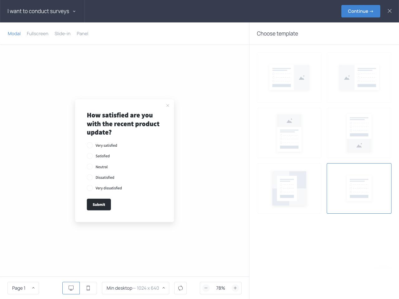 Getsitecontrol online survey builder with templates.