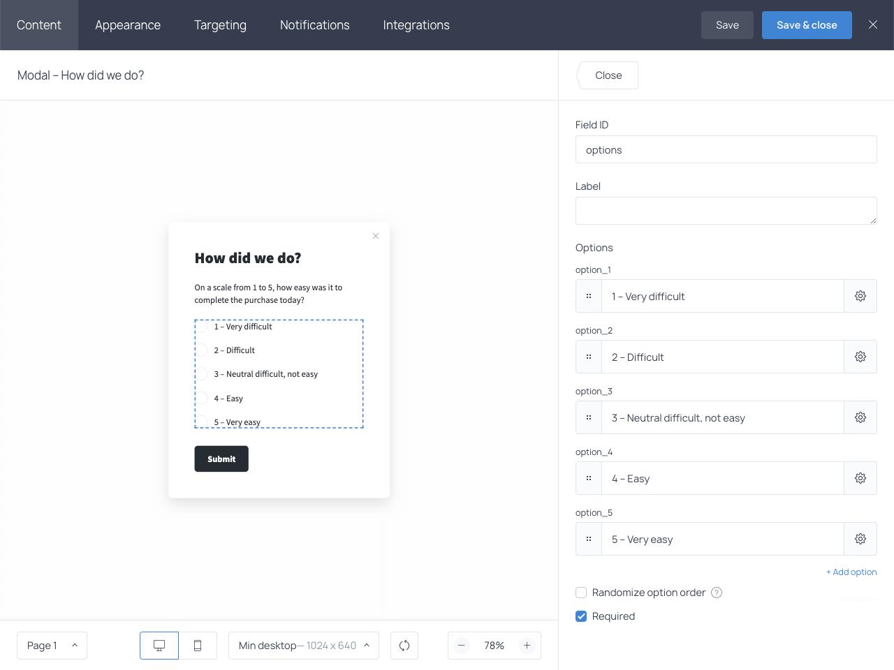 Getsitecontrol survey form builder - dashboard overview.