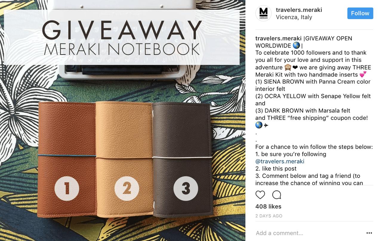 Meraki Notebook organizes a Meraki Kit giveaway contest on Instagram