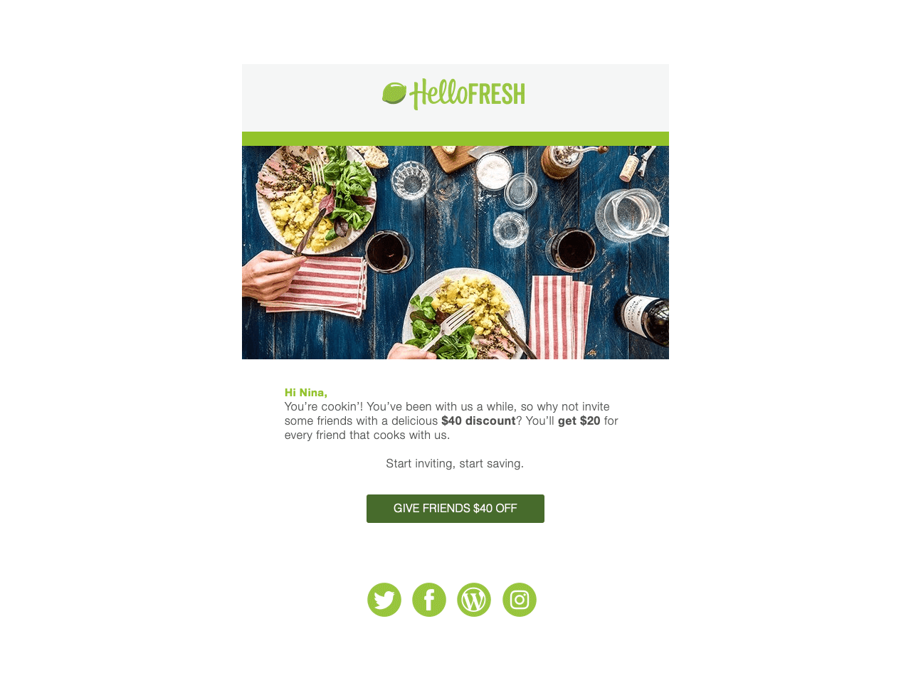 HelloFresh offers a $40 referral coupon to their repeat customers
