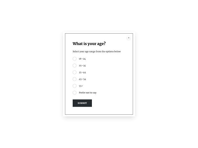 Demographic survey question about the respondents' age range