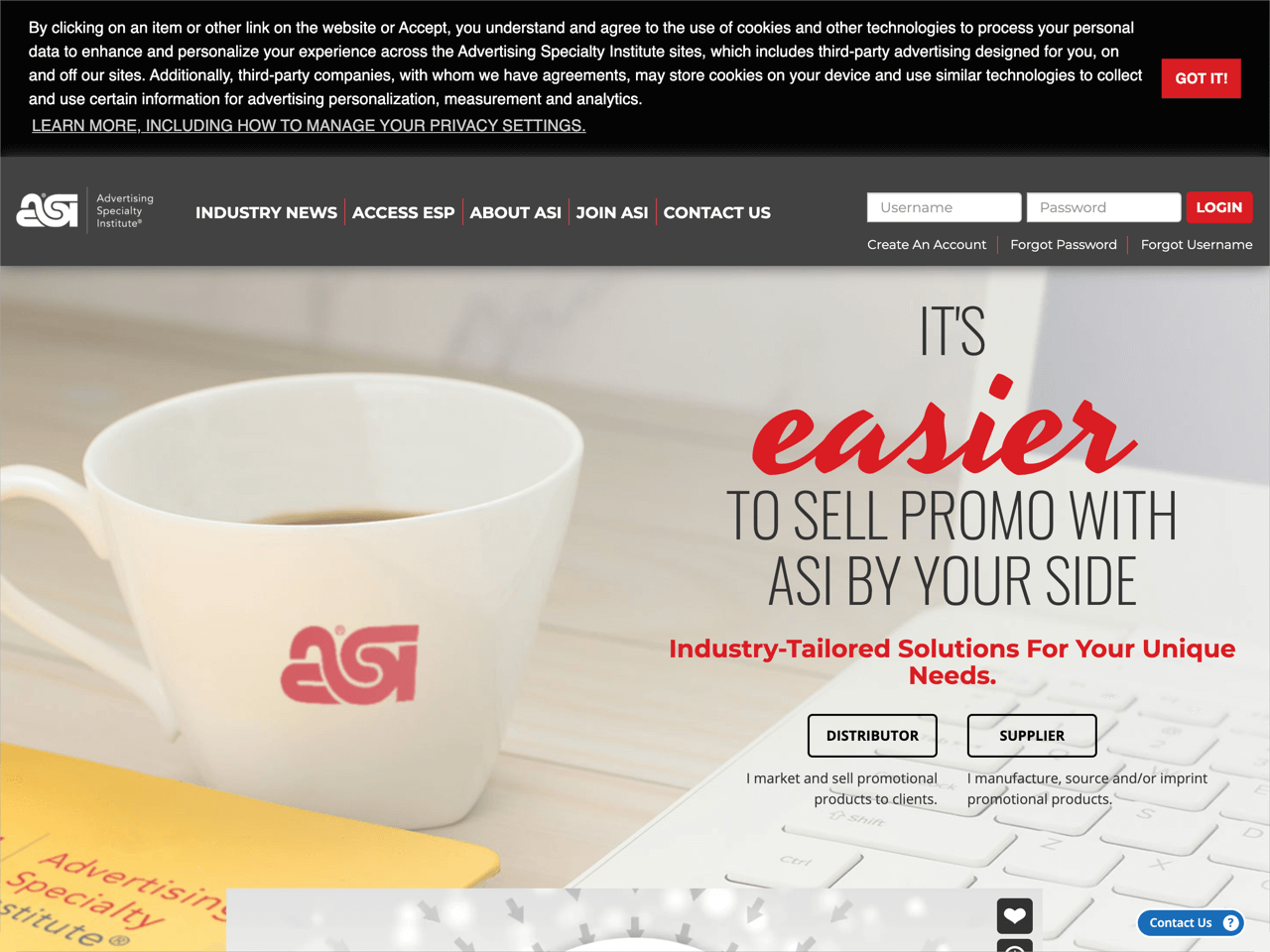 The ASI has placed their cookie banner at the top of a page
