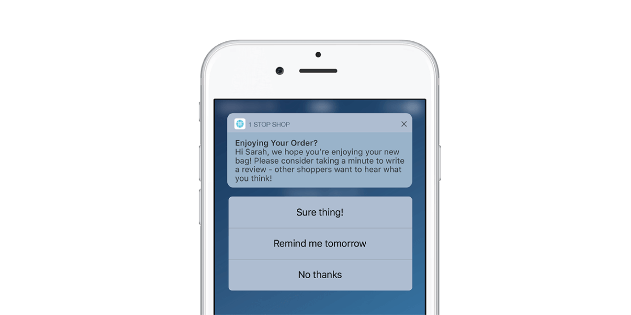 SMS and push notifications can be used as another channel to ask for customer reviews