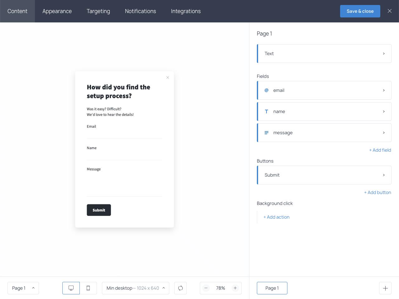 Getsitecontrol contact form builder – dashboard overview