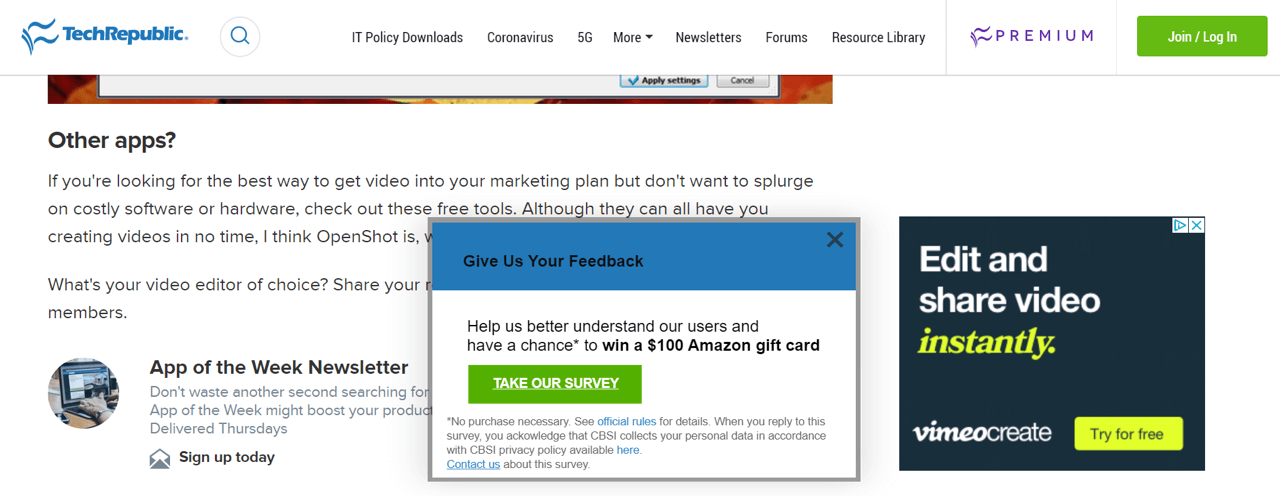 An invitation to take a survey pops up on the TechRepublic website