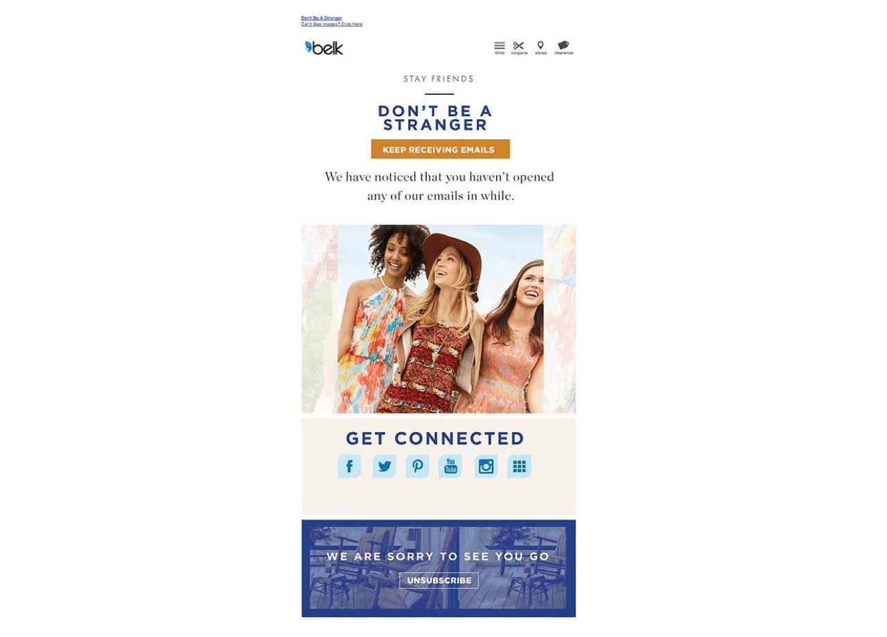 Example of a win-back email campaign
