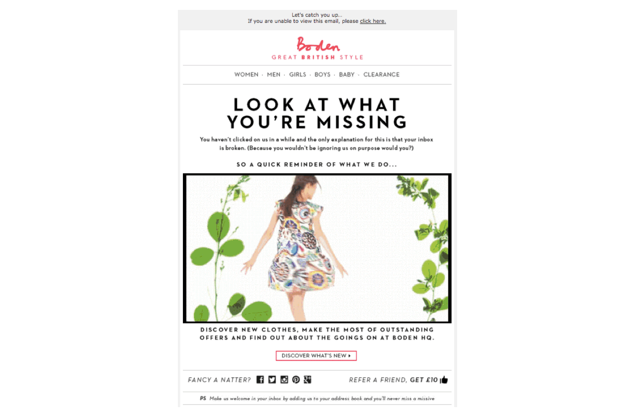 Boden use FOMO as their key customer win-back strategy