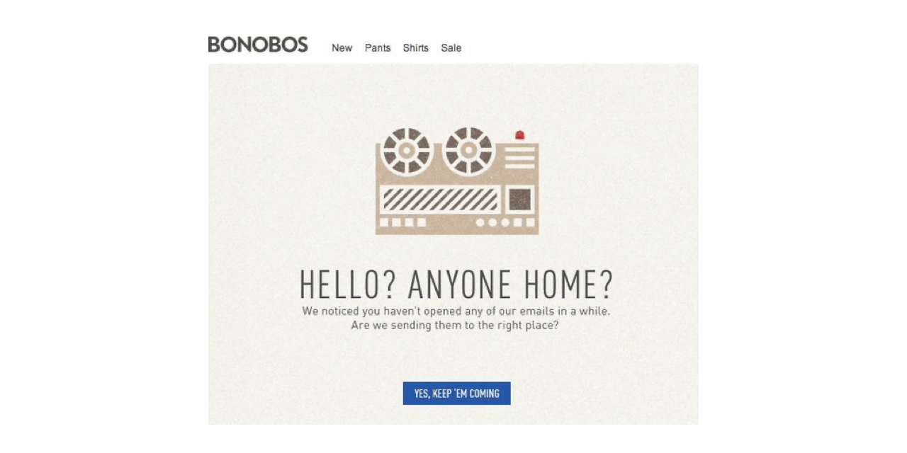 Bonobos use humor in their win-back campaign to confirm that the current email address is the correct one