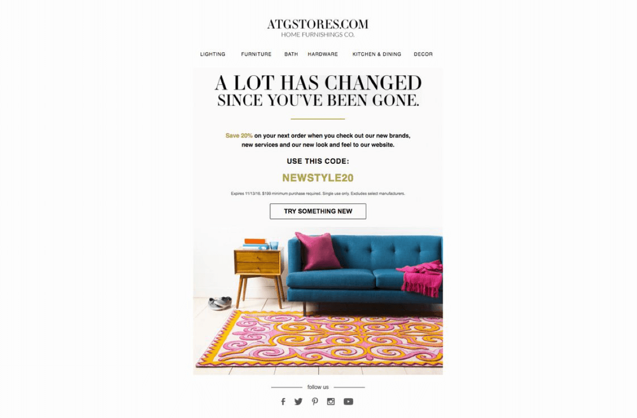 Win-back email content example featuring recent changes