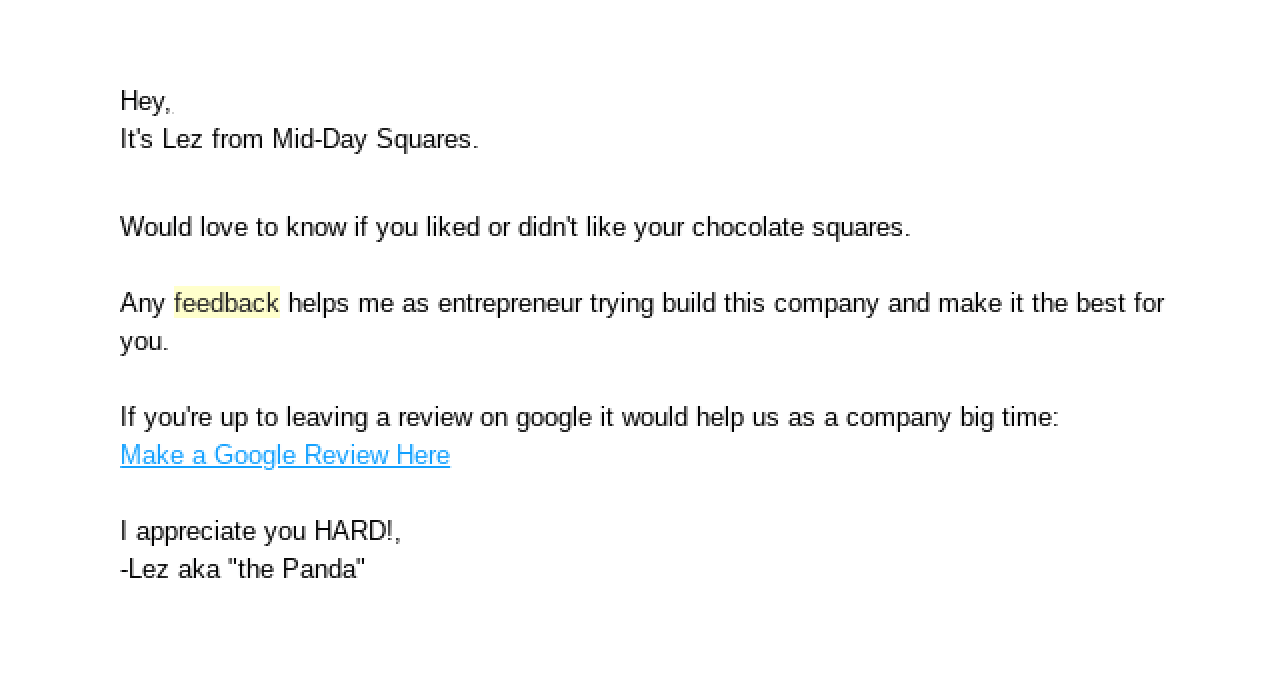 Mid-day squares sends an automated newsletter to ask for customer feedback