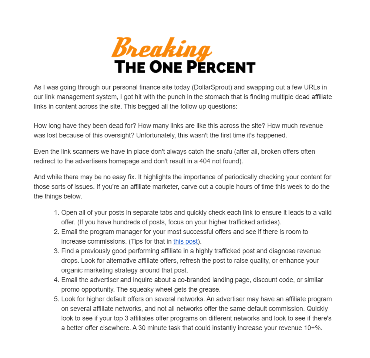Breaking the One Percent shares helpful tips with their readers in a newsletter