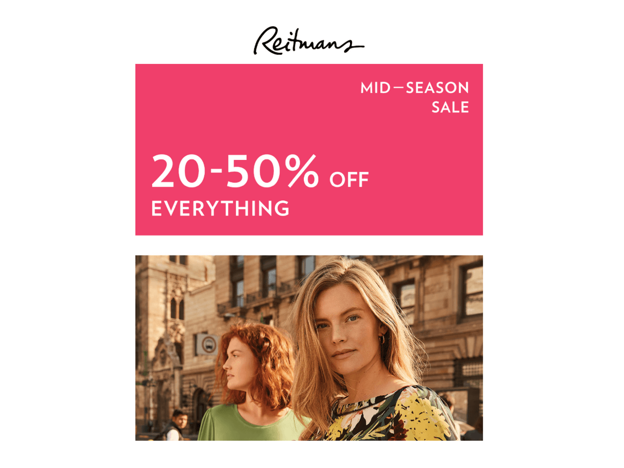 Reitman sends out mid-season sale newsletters to their subscribers