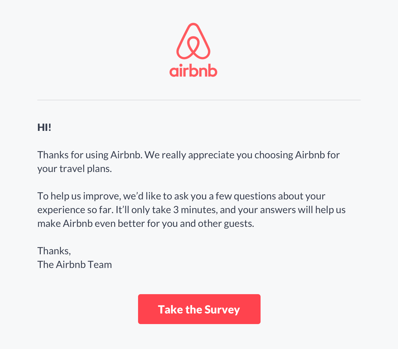 Airbnb invitation to take a survey