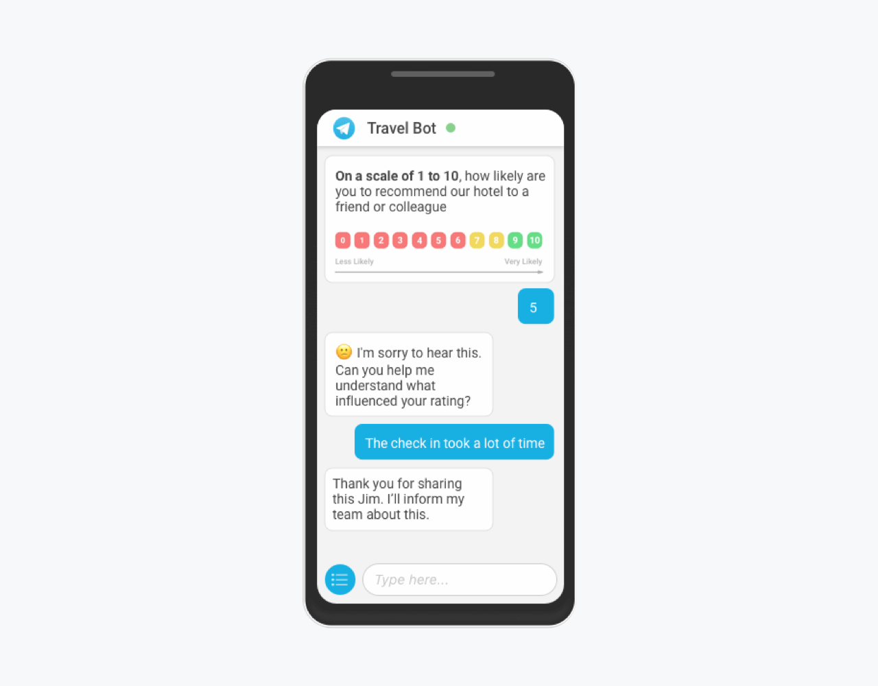 Haptik's chatbot feedback technique example