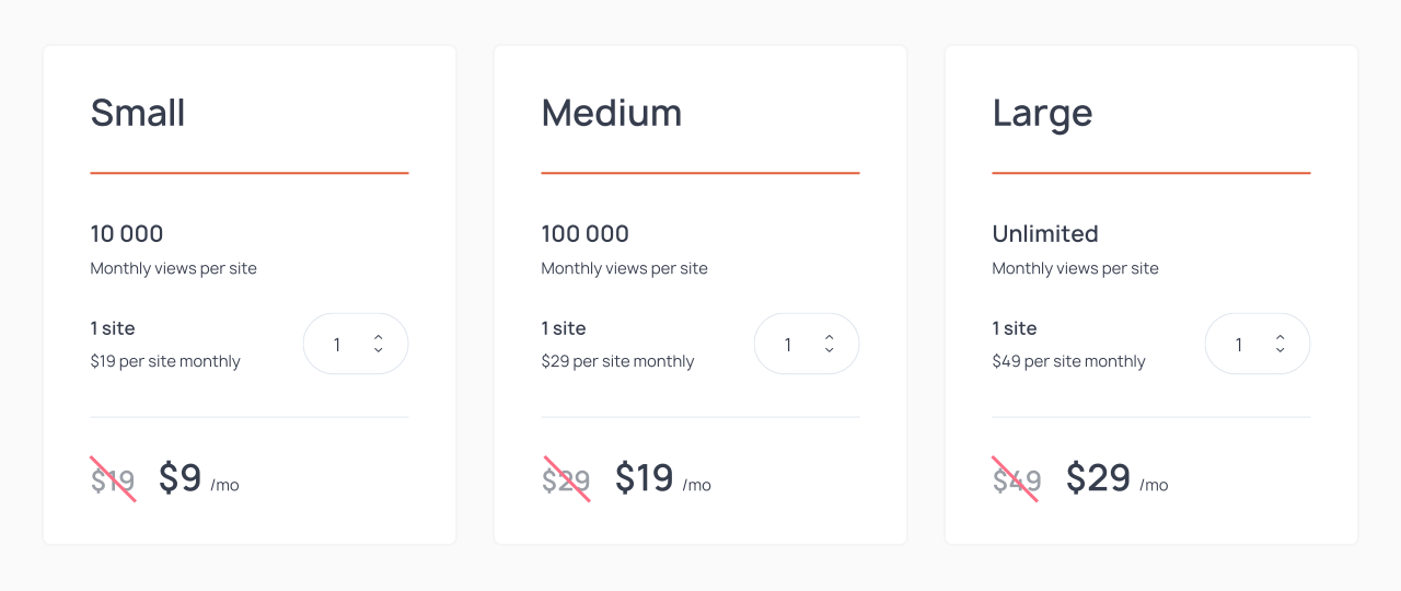 Getsitecontrol pricing page from August 2017 to February 2019