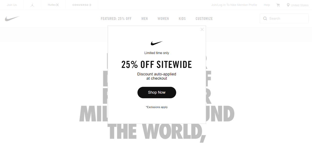 Website popup on the Nike website announces a sitewide sale