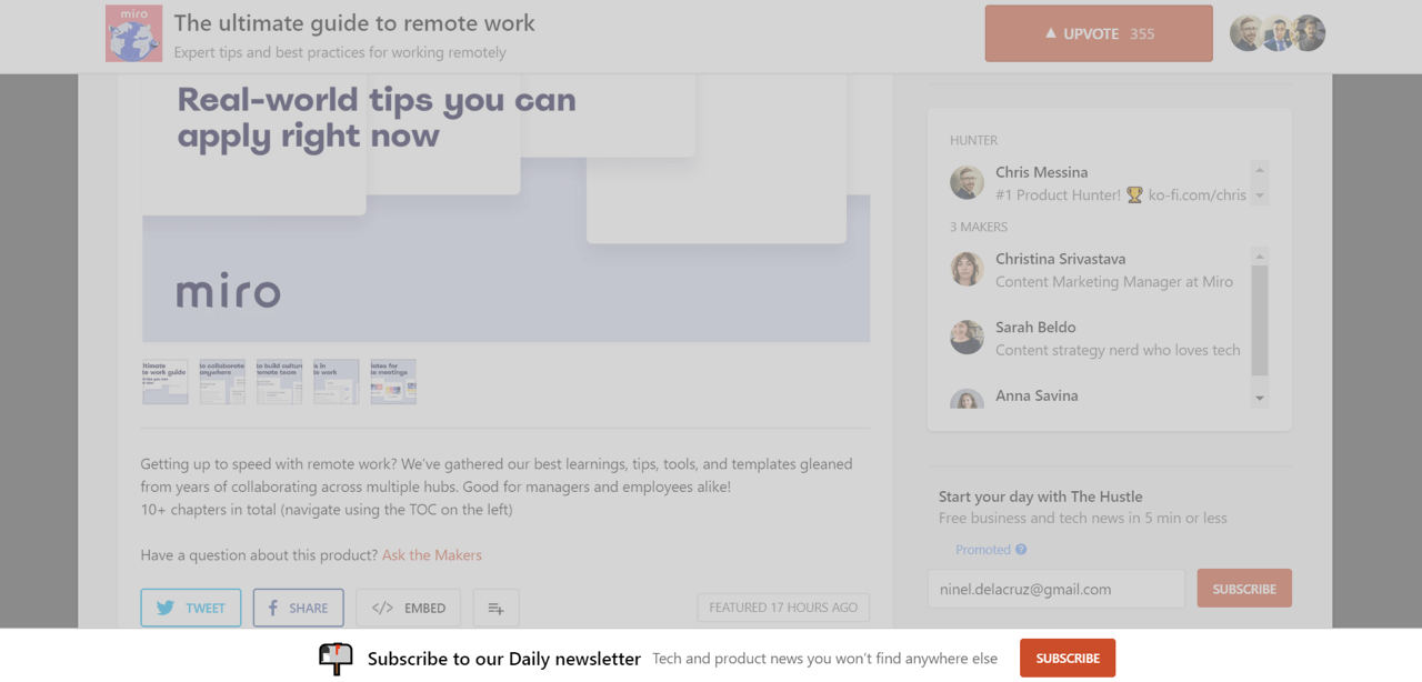 Product Hunt uses a floating email opt-in bar to collect emails
