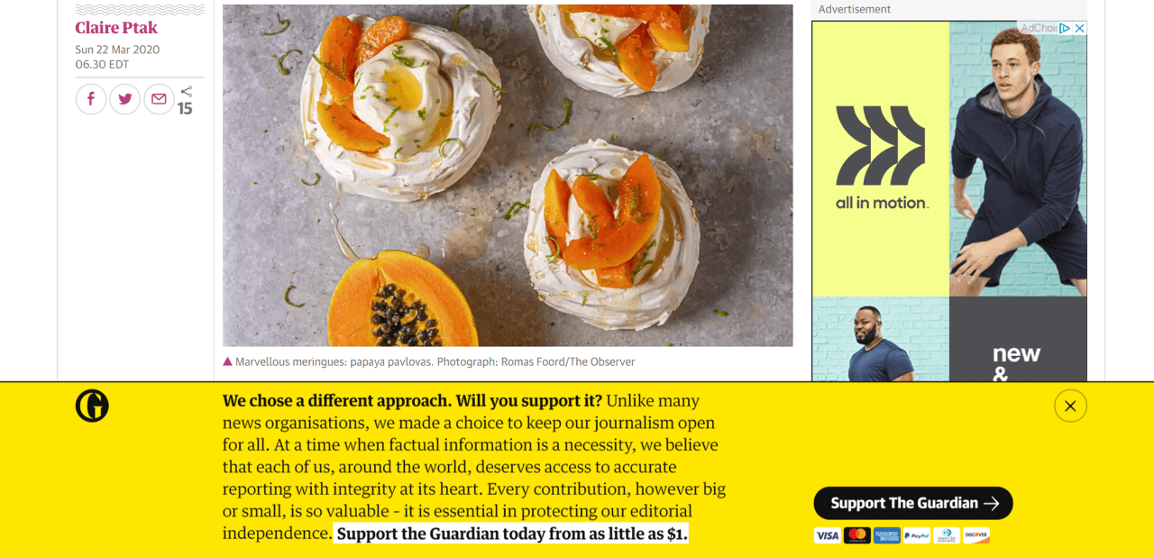 The Guardian uses a yellow sticky bar to encourage visitors to make donations