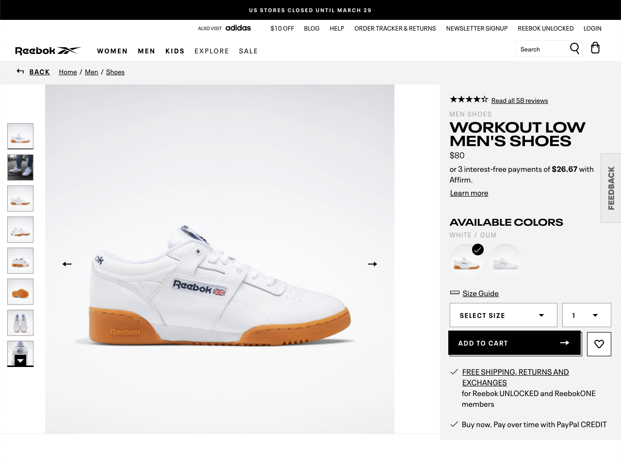 Reebok announces a sitewide sale using a black sticky bar at the top of the page