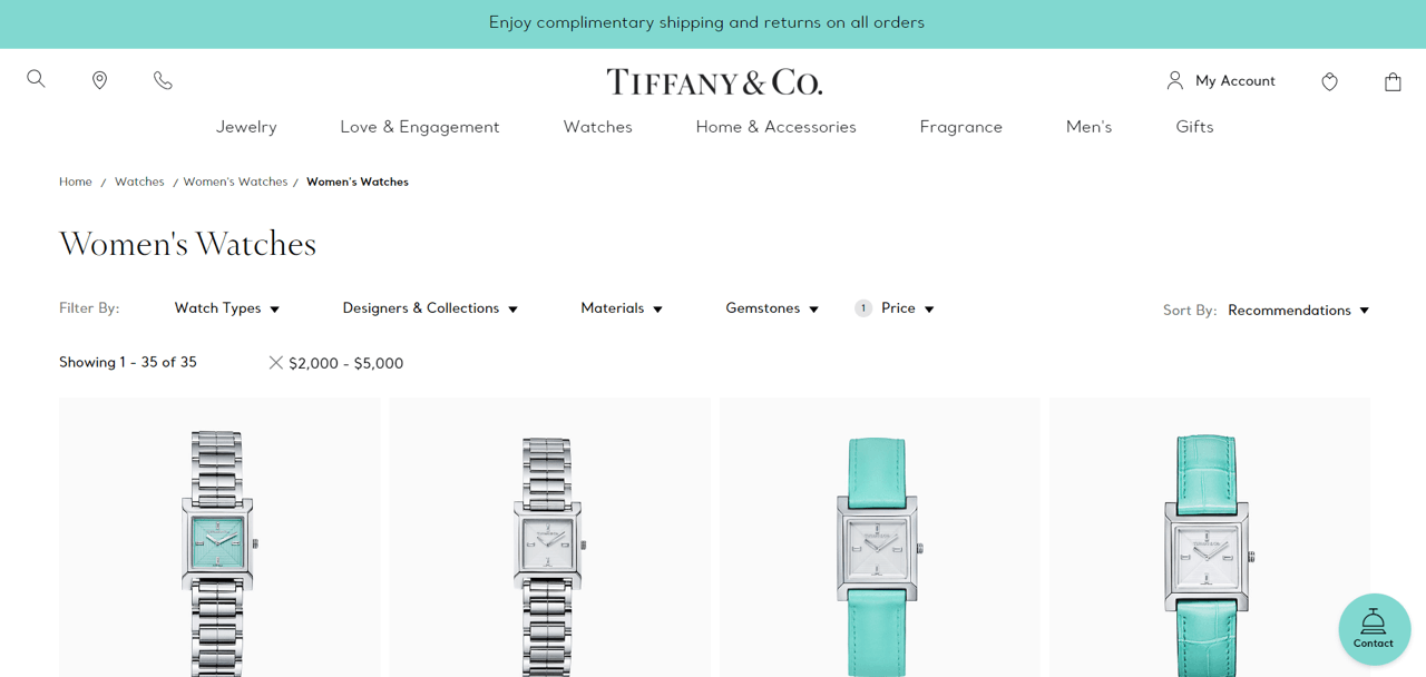 Tiffany & Co chooses their signature color for the sticky announcement bar