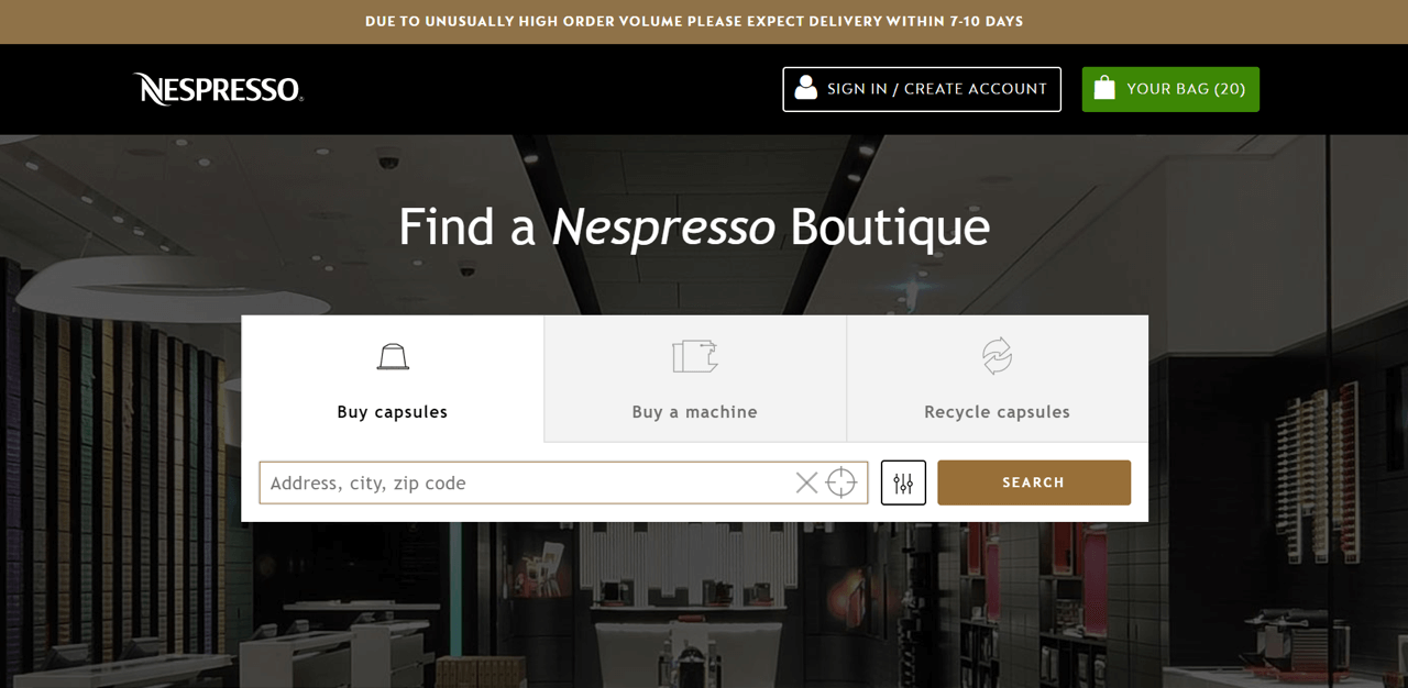 Nespresso notifies customers about delivery delays using a sticky par