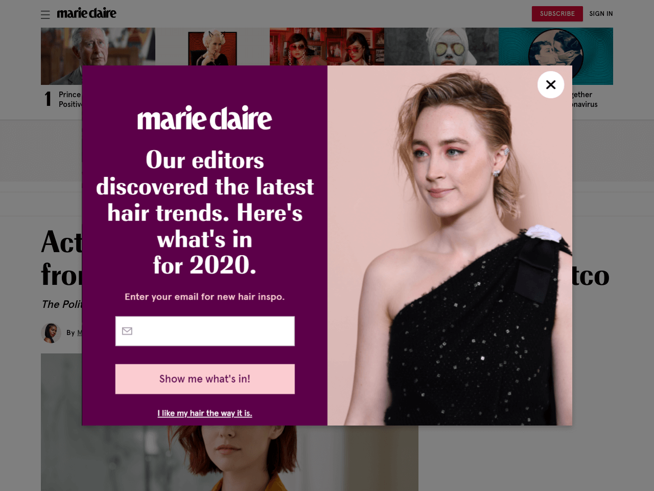 Marie Claire offers a lead magnet in exchange for subscription