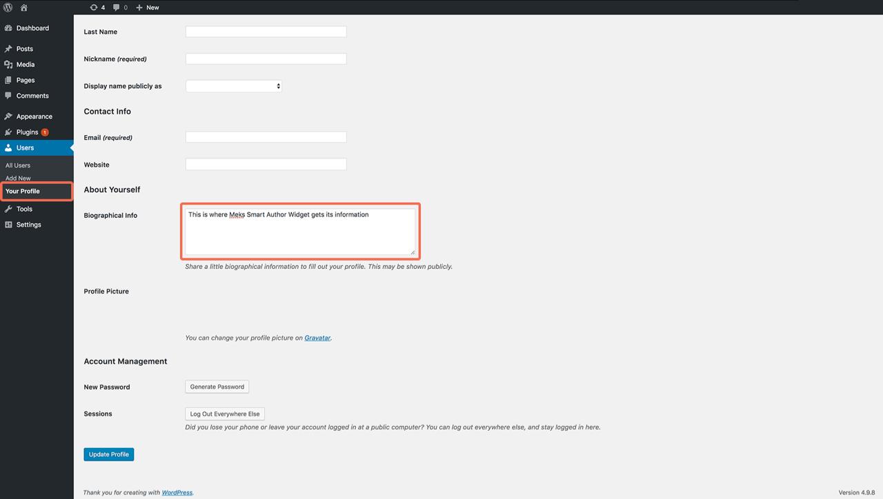Meks Smart Author WordPress widget