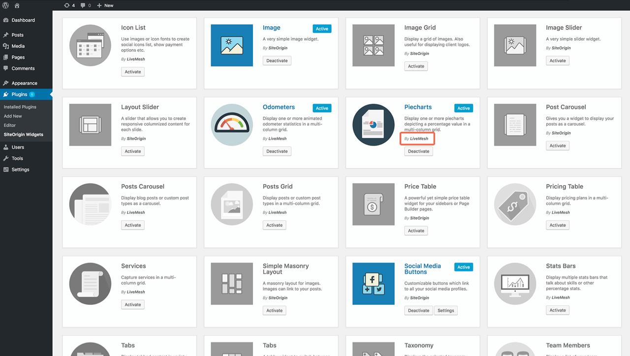 Contact widgets dashboard