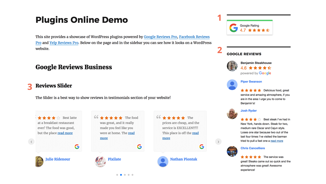 Google, Facebook, and Yelp review widgets for a website