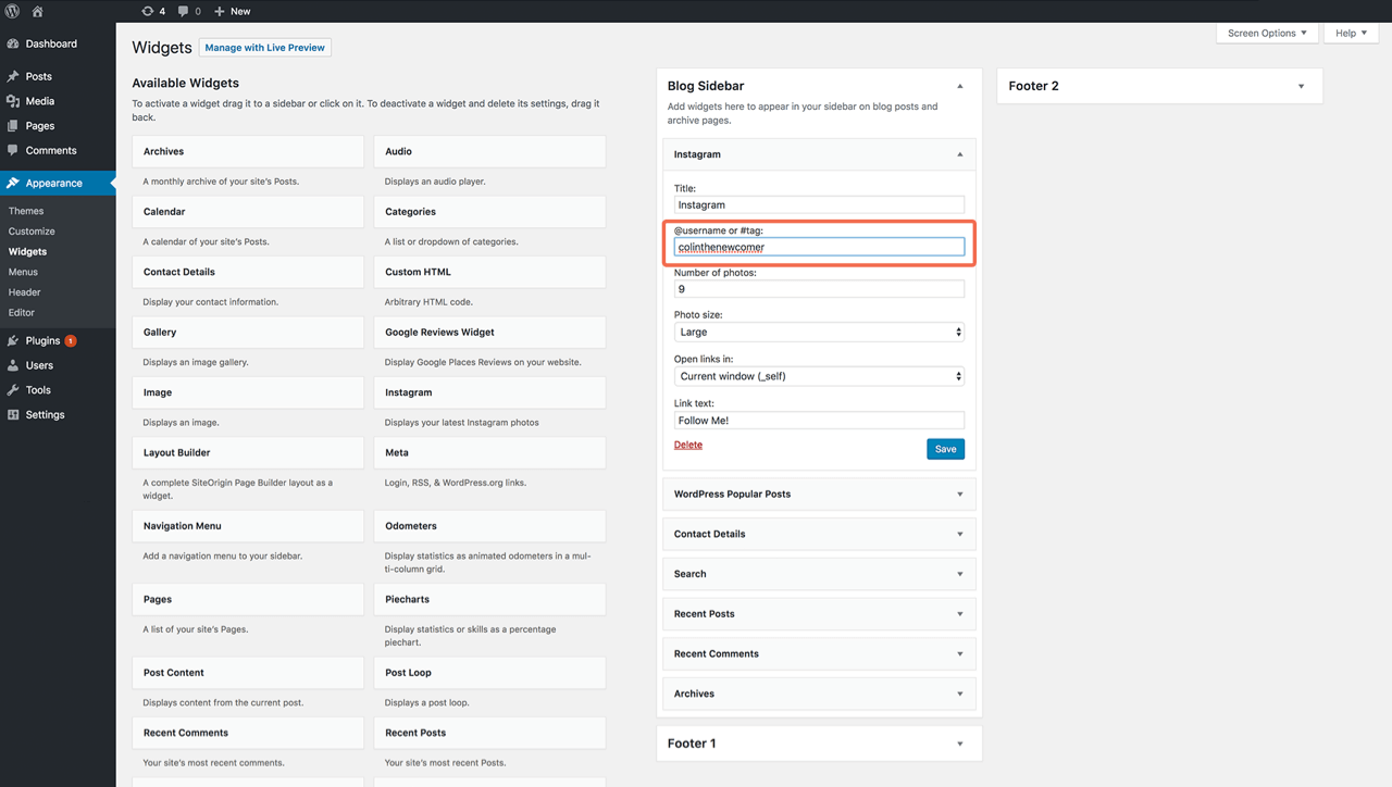 WordPress Instagram widget settings