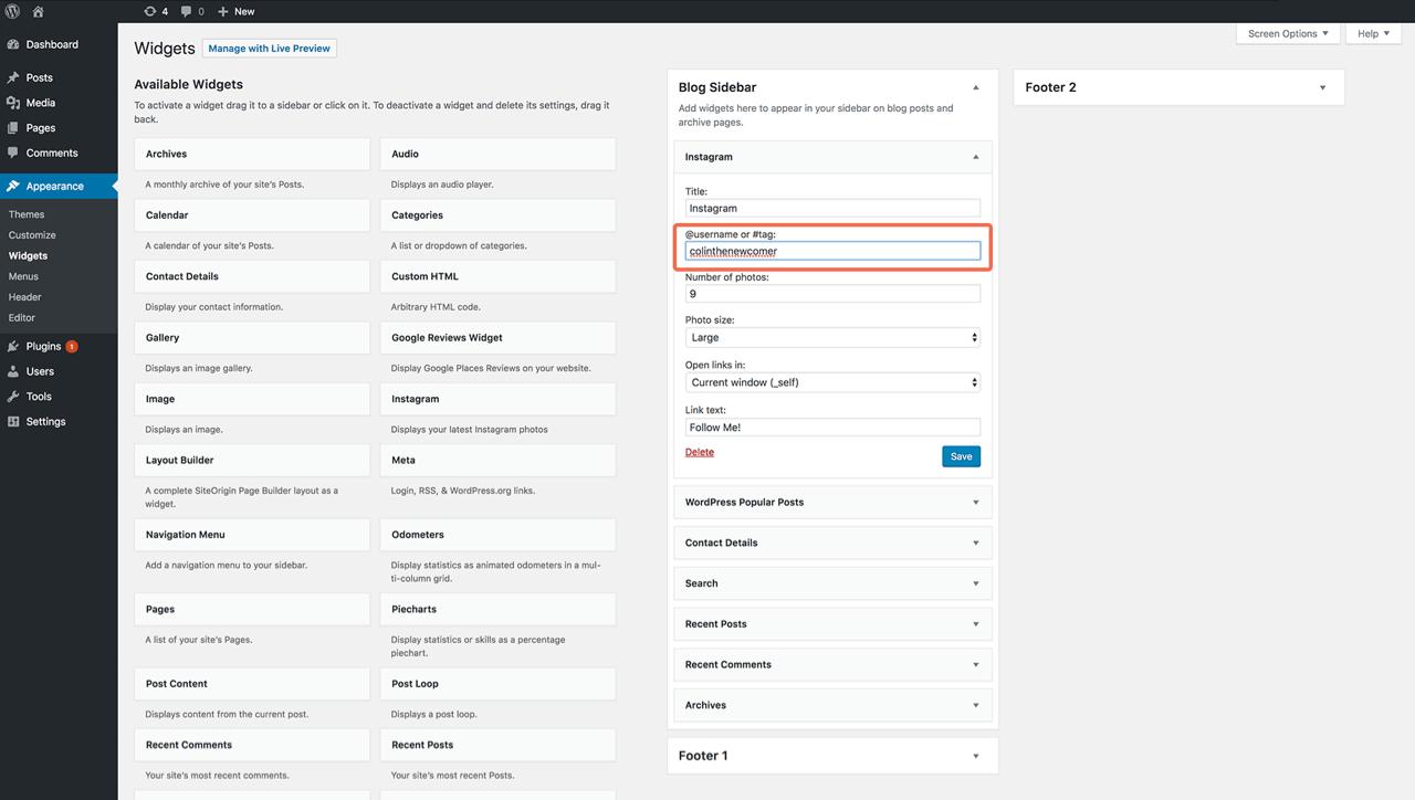 WordPress Popular Posts widget dashboard
