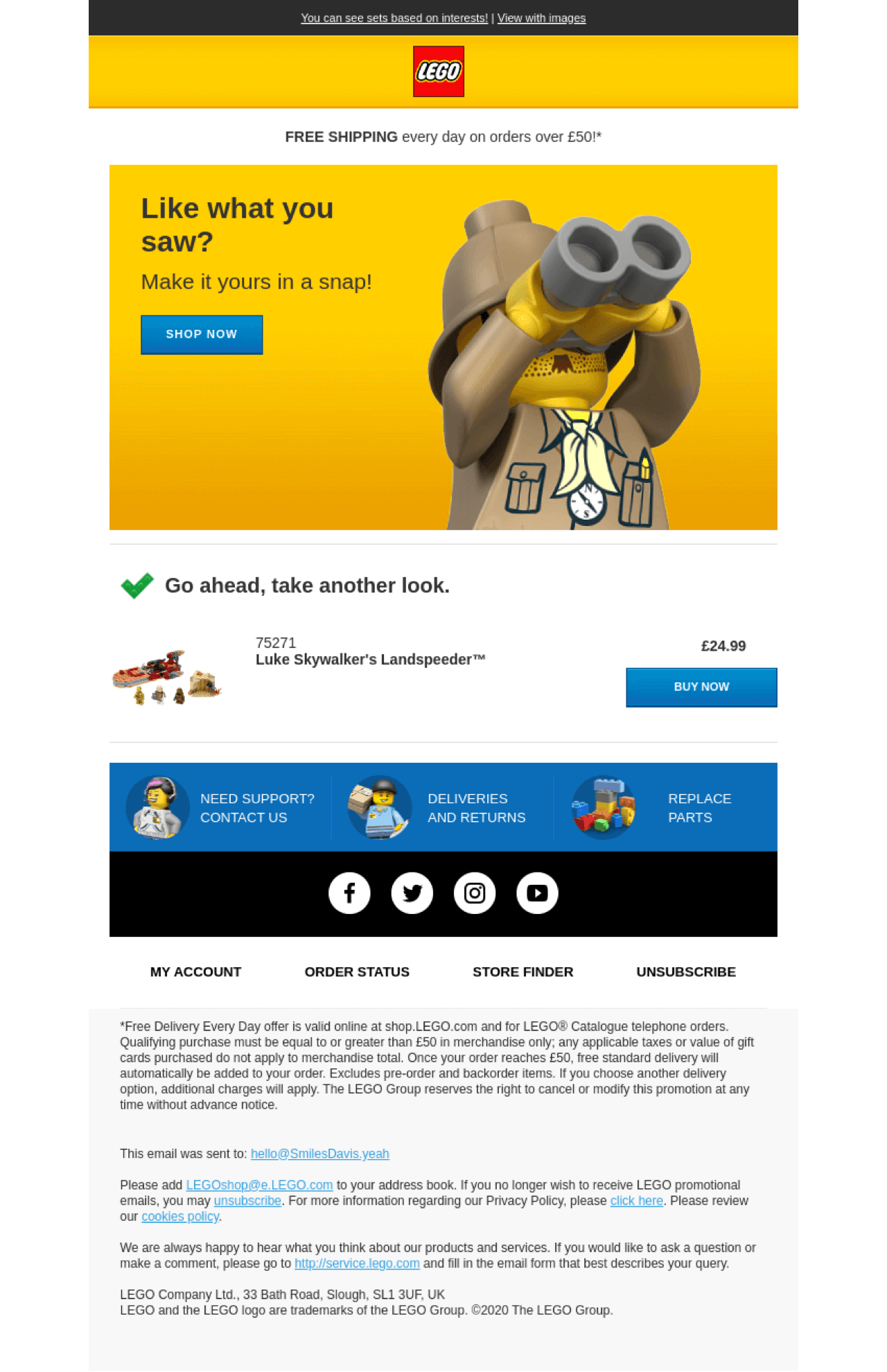Abandoned cart email from Lego is a combination of attractive design, fun play on words, and related images