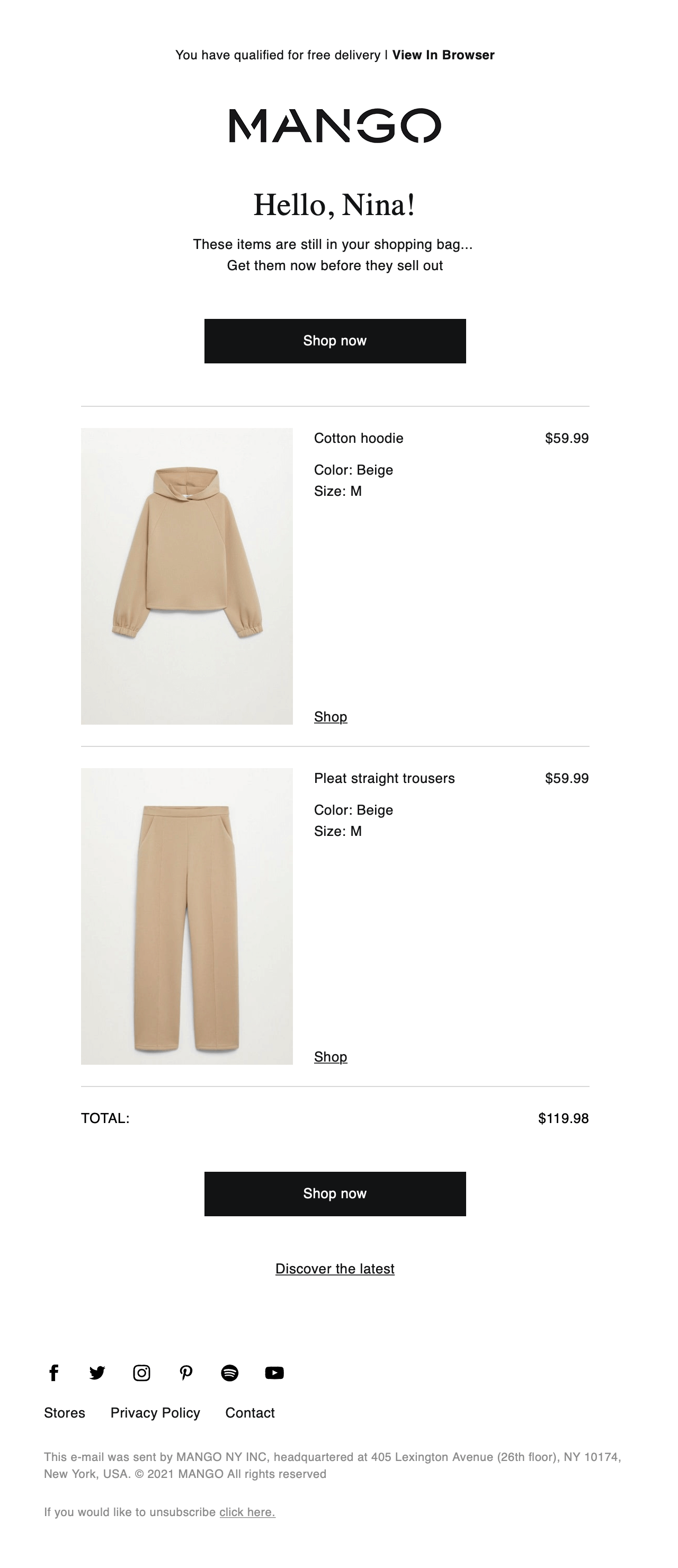 Mango uses the sense of urgency in their abandoned cart emails