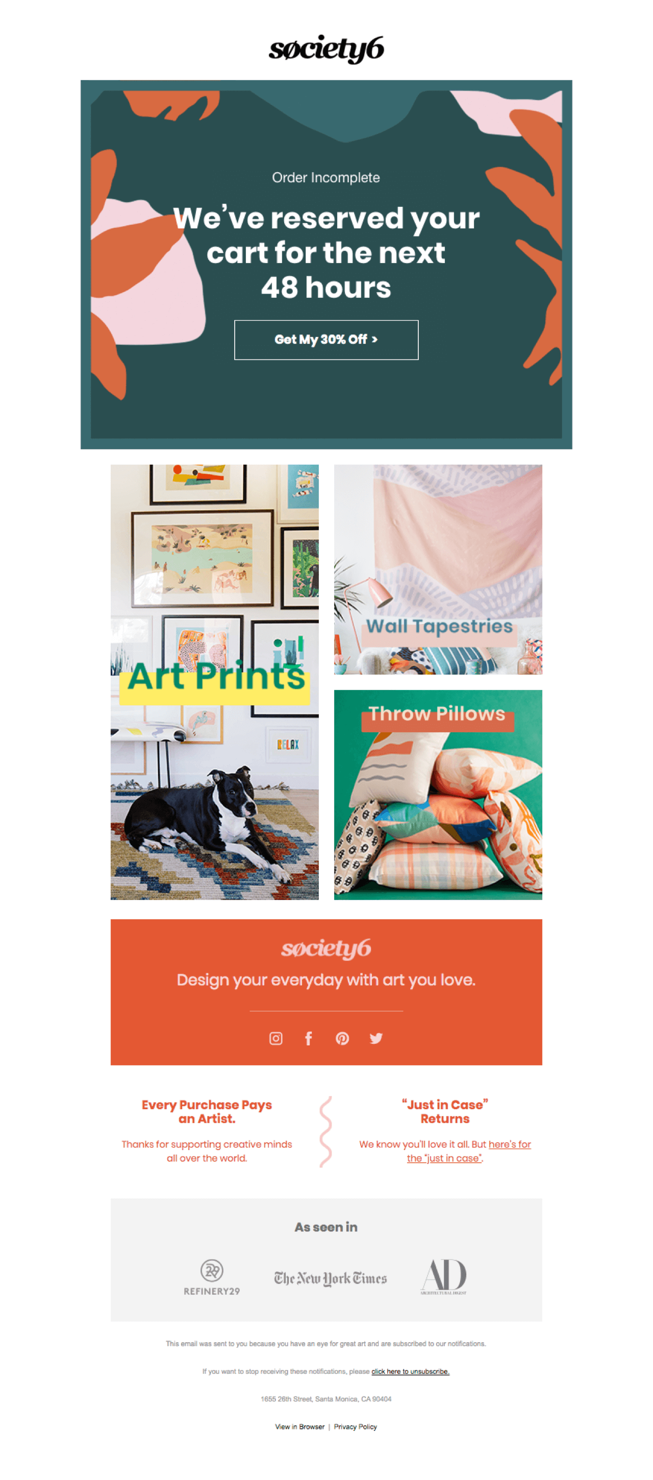 Society6 uses scarcity to increase the efficiency of their abandoned cart emails