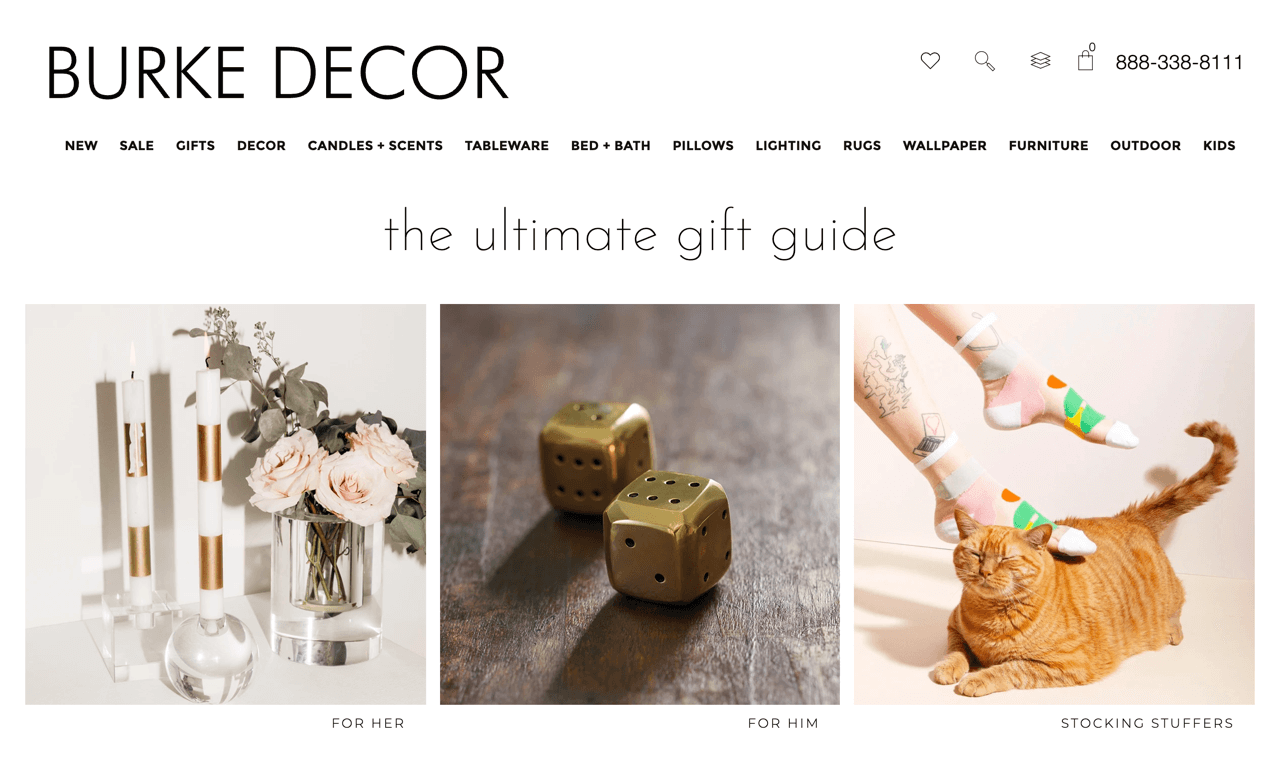 BURKE DECOR uses gift guides to navigate visitors through the store