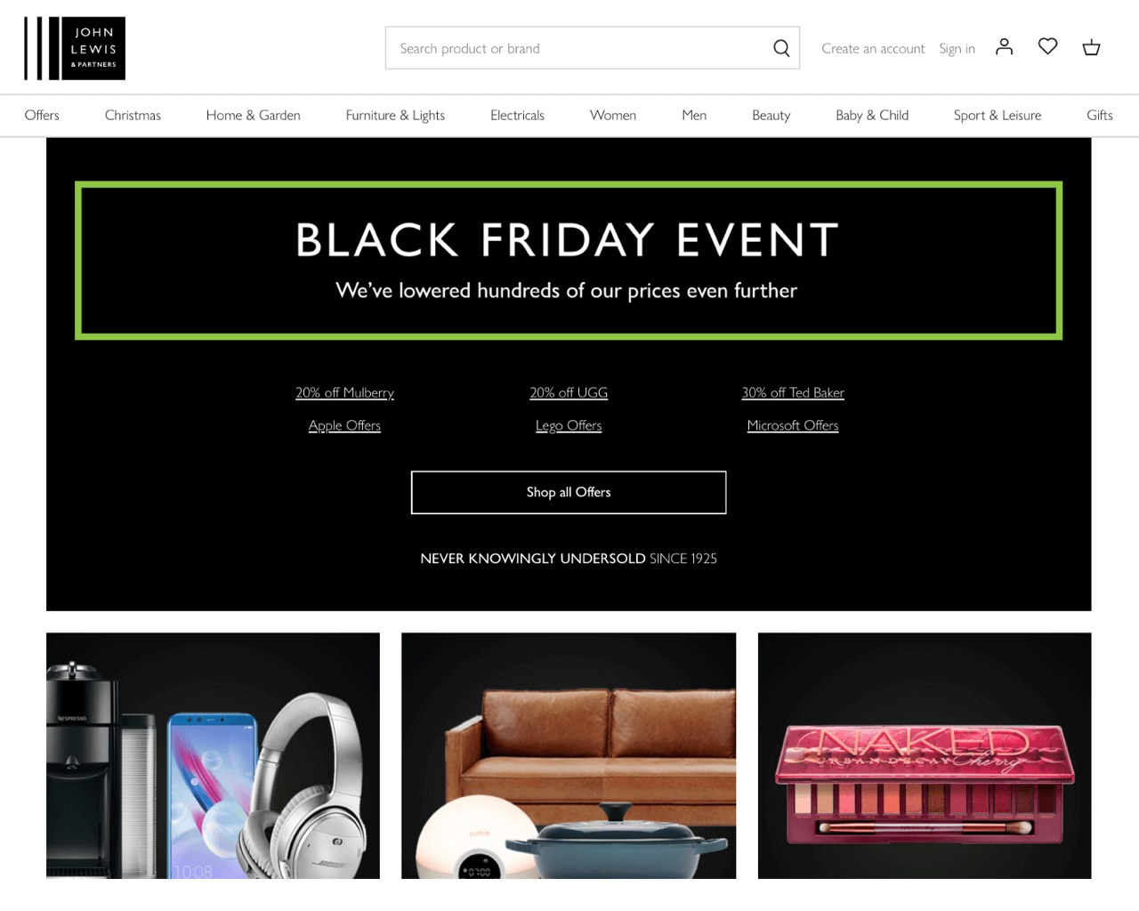 Banner designed to drive visitors to a Black Friday sale page