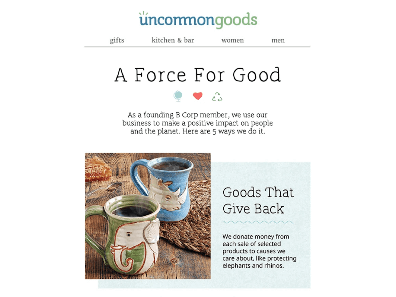 Uncommon goods have included coupon marketing in their automated email campaigns
