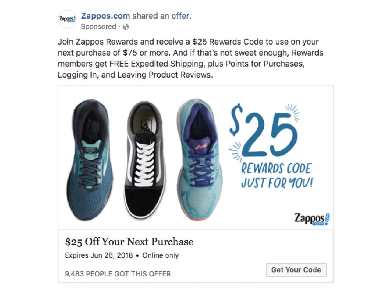 Zappos use coupon marketing to convert their social media followers