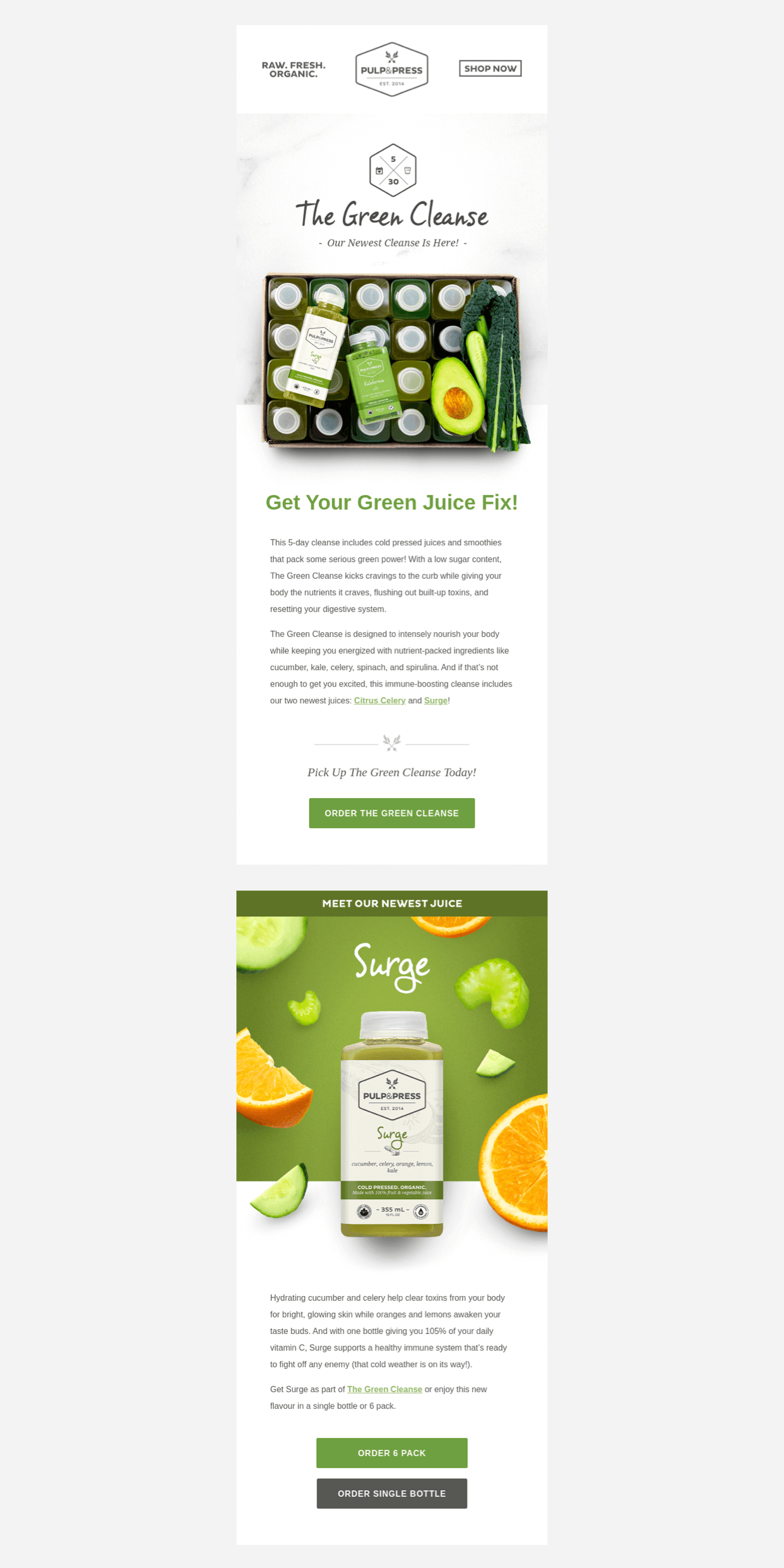 Green Cleanse launches an email marketing campaign to announce a new product