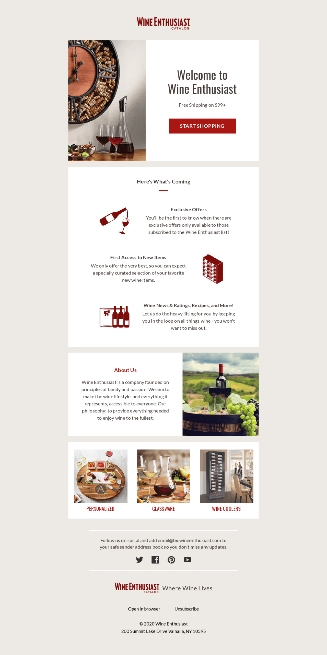 Wine Enthusiast highlights the value of subscribing in their welcome email