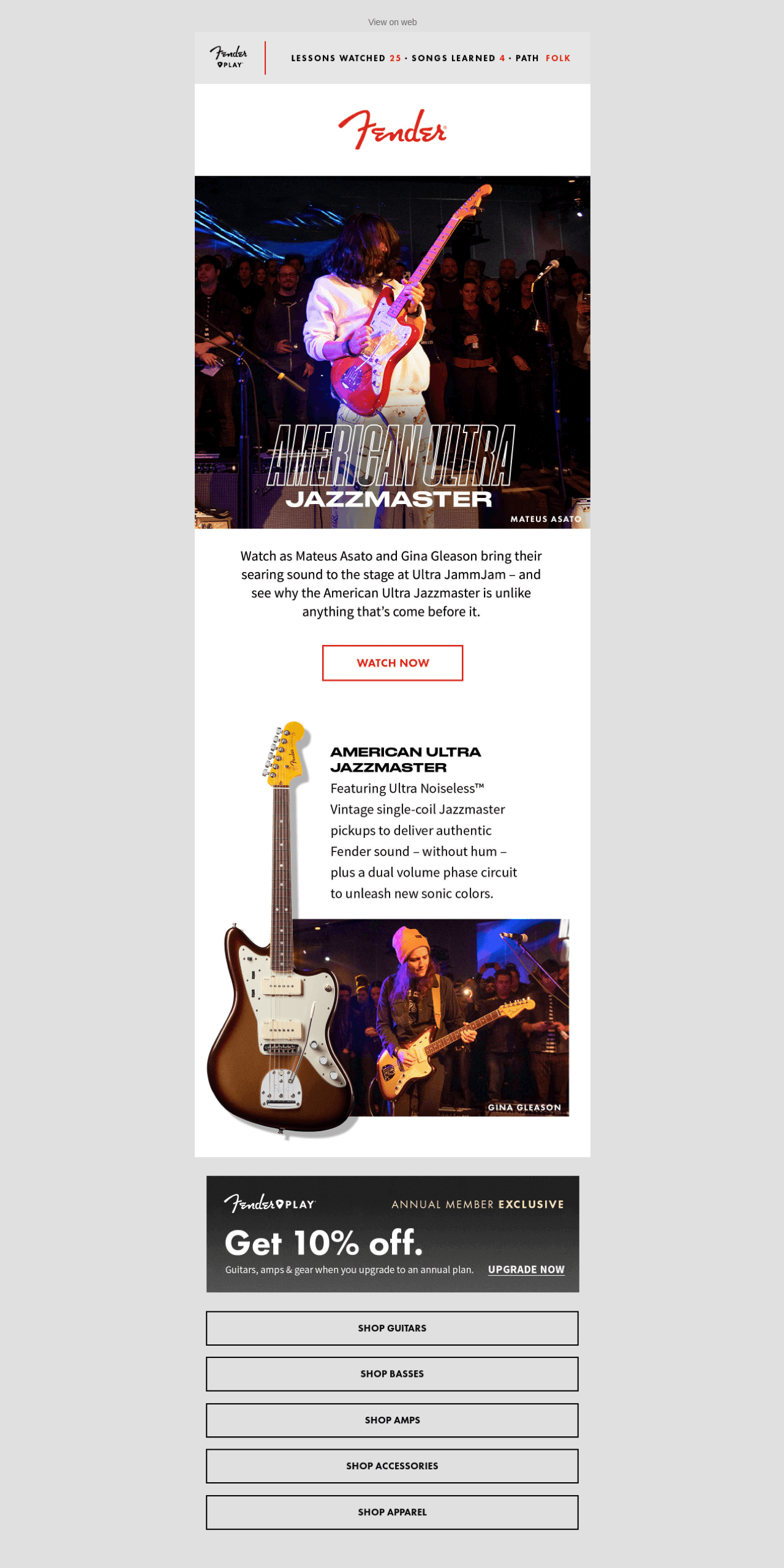 Fender uses social proof in their email marketing campaign to boost sales