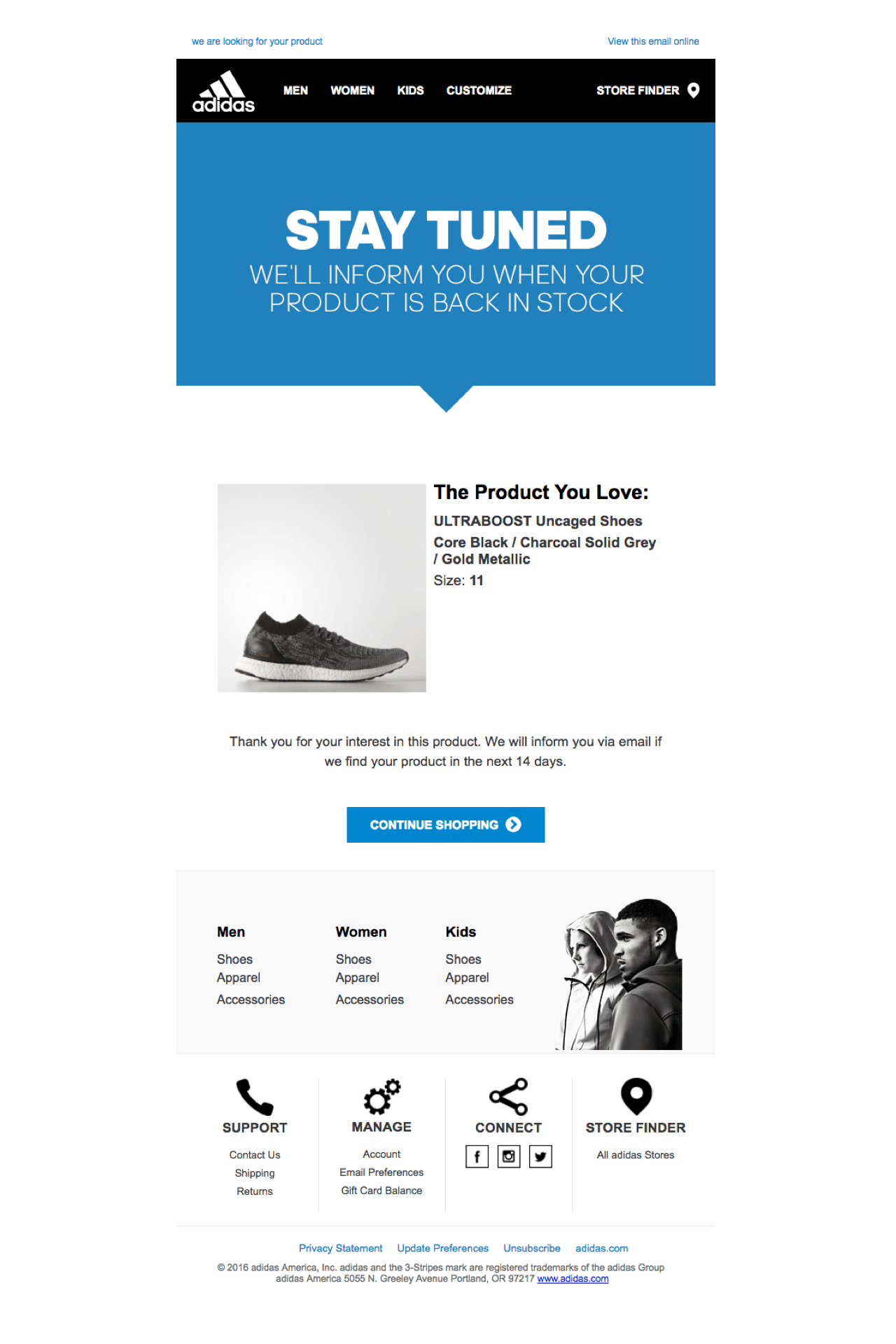 Adidas allows customers to request the back-in-stock item status