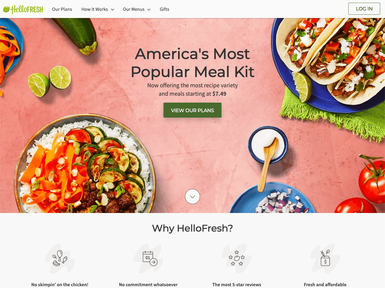 HelloFresh highlight their unique selling point on a landing page